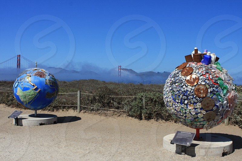 Painted Globes with Golden Gate Bridge in Background photo