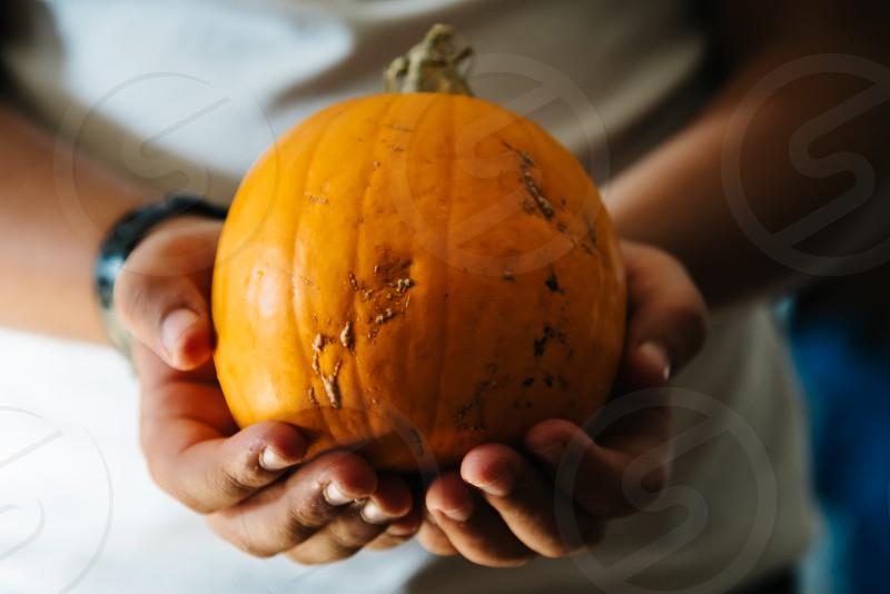 Close up of child hands holding a pumpkin. photo