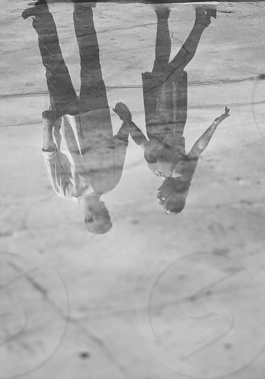 Reflection of a couple in love.  photo