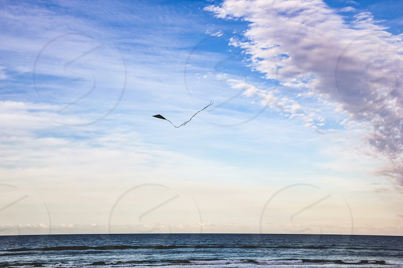 beautiful sky with kite flying mid air  photo
