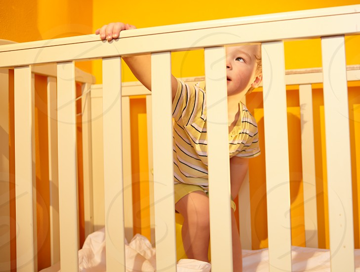 Little boy stands in bed. Beautiful morning light. photo