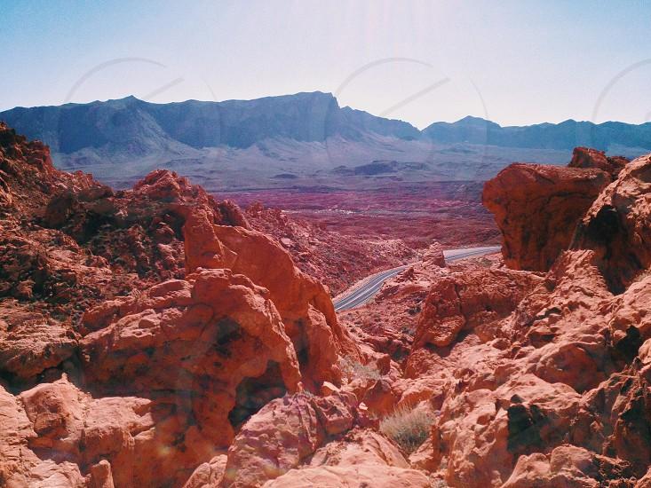 Desert hot summer rock road tripclimb photo
