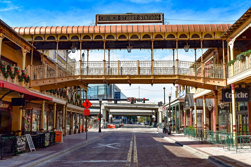 Orlando Florida . December 25 2018. The revitalized Church Street Station continues this tradition offering an eclectic mix of dining and entertainment for locals and tourist in Orlando Downtow photo