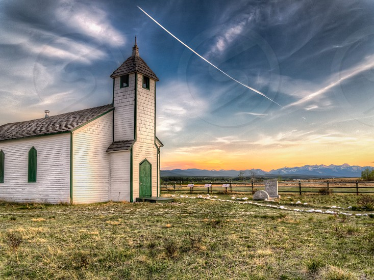 white grey and green church building photo