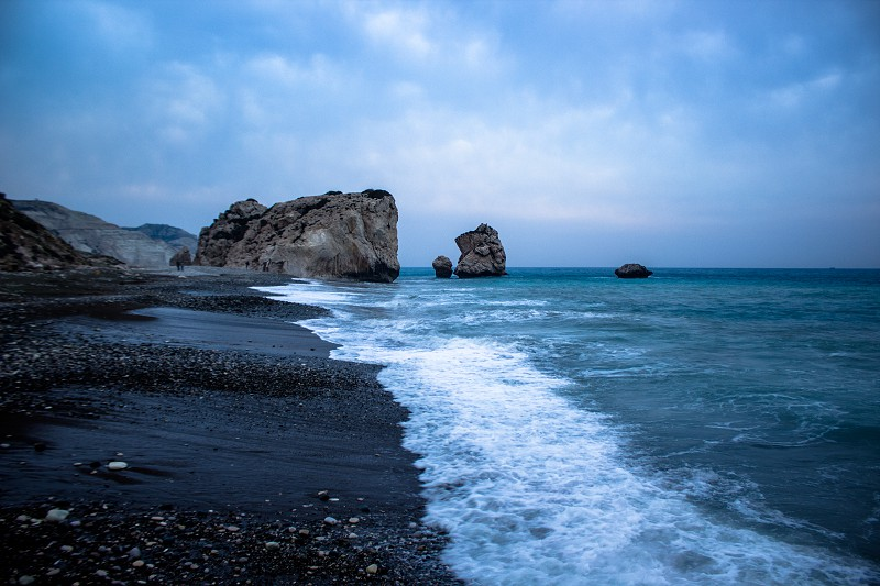 View of Aphrodite's rock in Cyprus photo