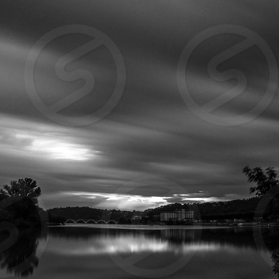black and white lake picture photo