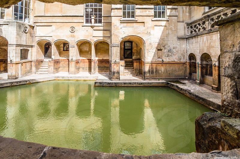 Interior of The Roman Baths complex in the English city of Bath. The house is a well-preserved Roman site for public bathing. photo