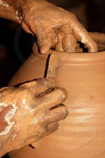 In a pottery photo