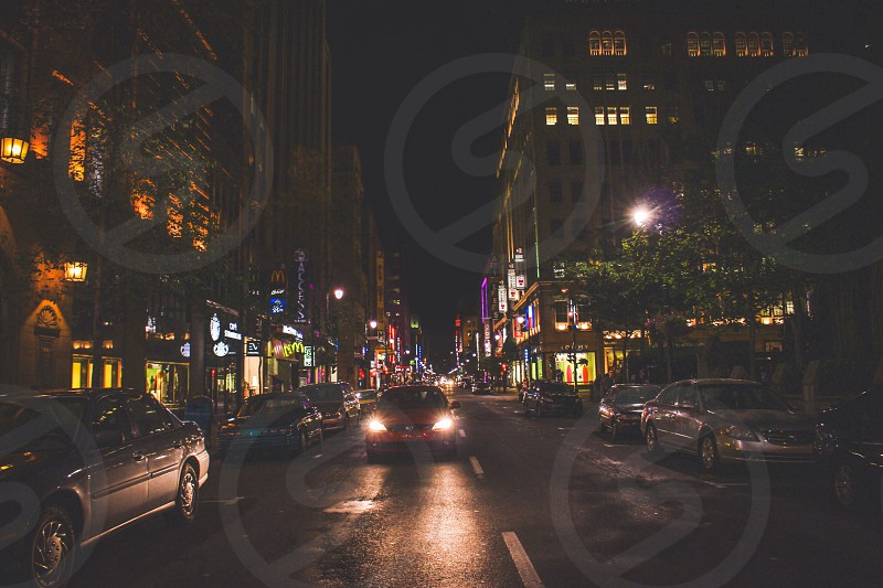 Midnight! downtown Montreal at its finest! China town and lights. Canada. photo