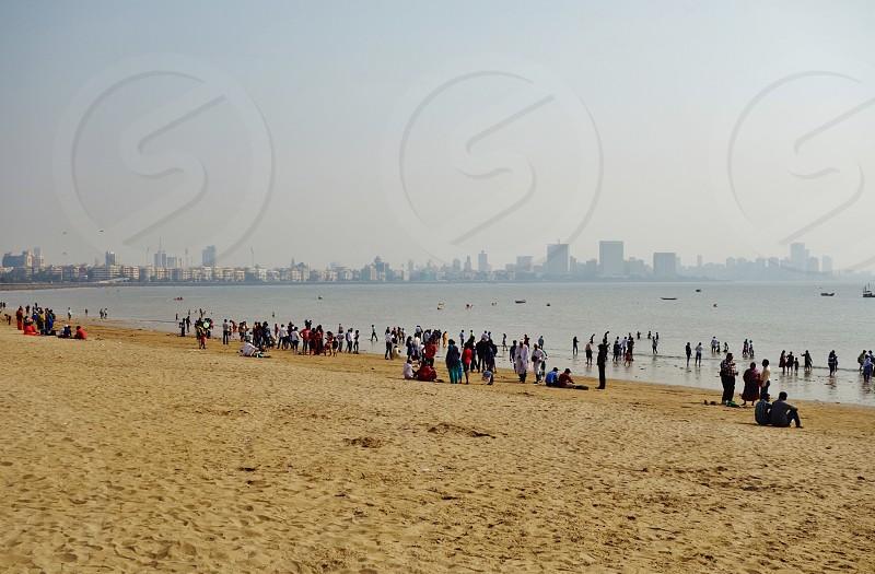 Girgaum Chowpatty Beach in Mumbai India photo