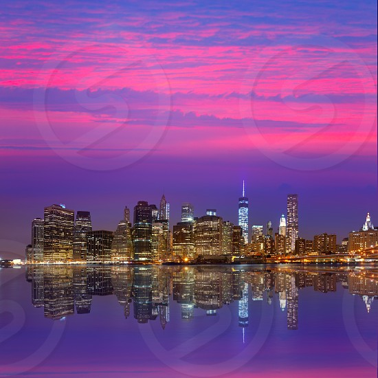 Manhattan sunset skyline New York NYC NY in USA photo