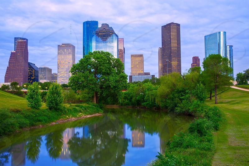 Houston Texas modern skyline from park river US photo