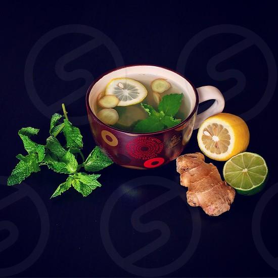 Ginger tea fresh mint lemon lime vitamin green healthy delicious warm hot photo