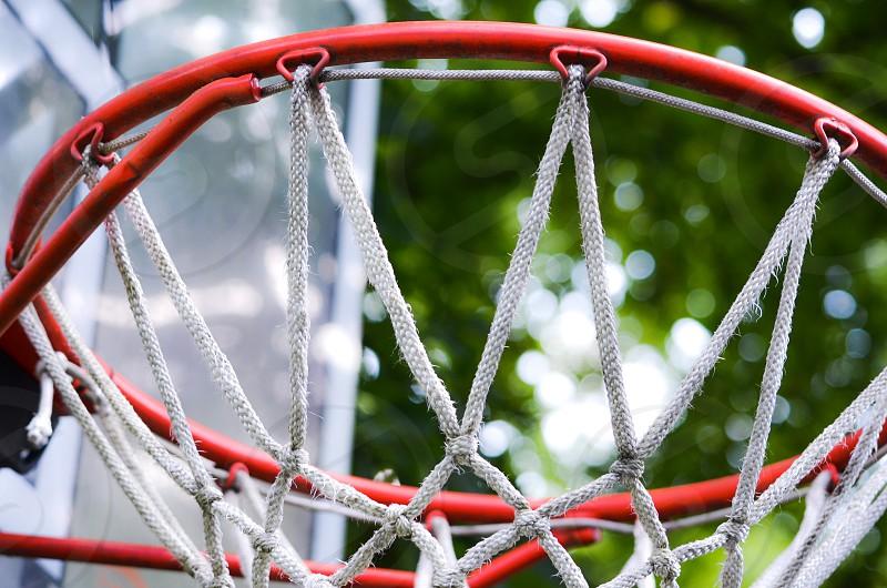Basketball hoop with net photo