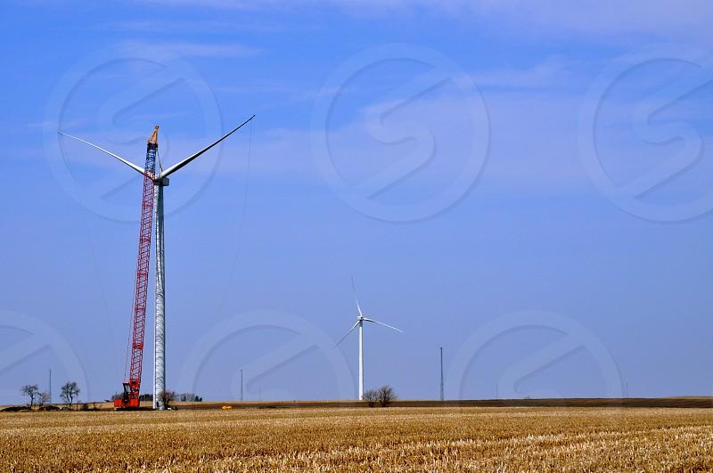Wind turbine construction on an Northwestern Indiana (USA) farm field. photo