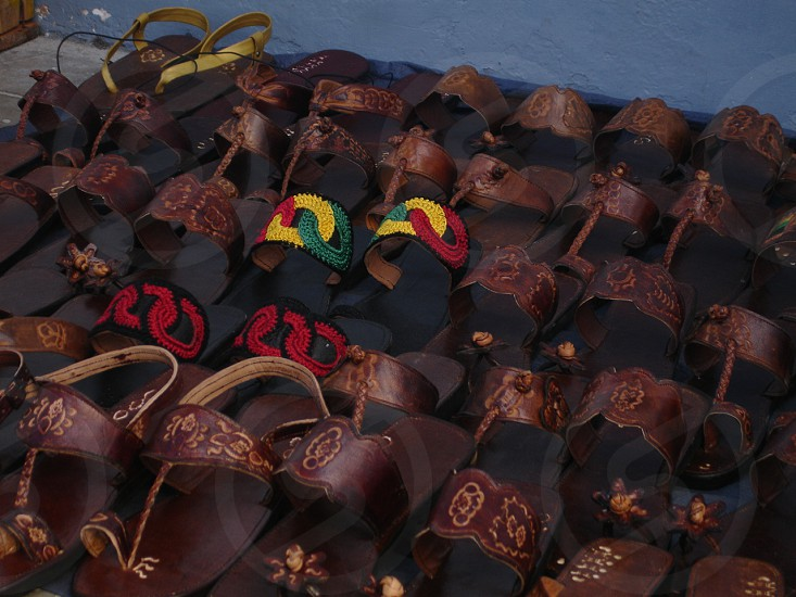Sandals slippers Jamaica Red Green and Gold leather Caribbean photo