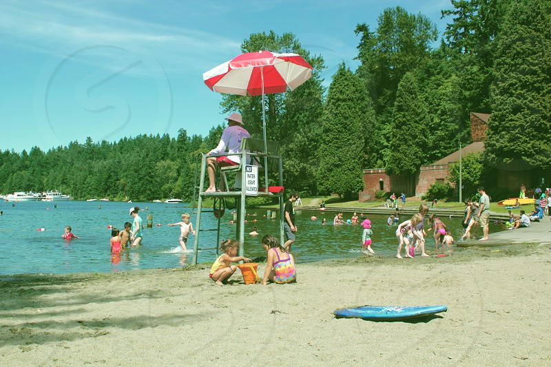life guard on watch over the lake photo