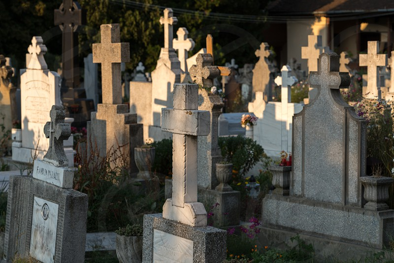 SIBIEL TRANSYLVANIA/ROMANIA - SEPTEMBER 16 : View of the graveyard of the Holy Trinity Church in Sibiel Transylvania Romania on September 16 2018 photo