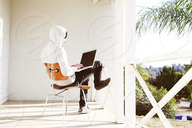 white hooded sweatshirt photo