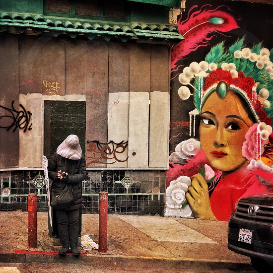 San Francisco Chinatown outdoor day architecture. Chinese painting streetscape street scene street corner photo