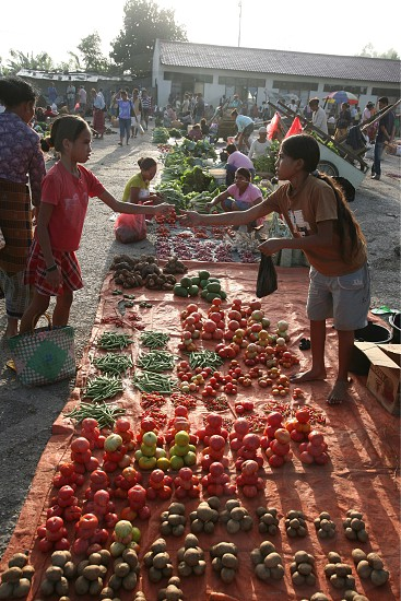 a fegetable market at the village of Lospalos in the east of East Timor in southeastasia. photo