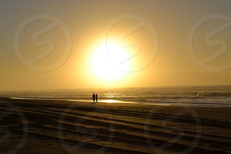 Tropical Beach Couple Sunset photo