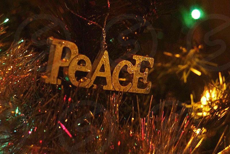 Peace Christmas holiday's warm tone lights bokeh photo