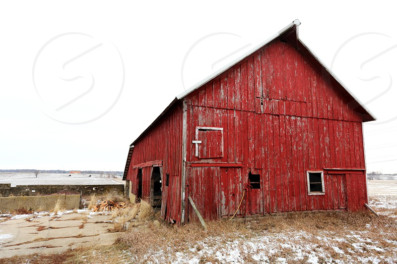 Old red barn in rural Illinois photo