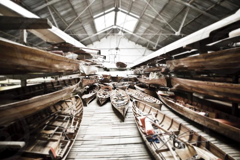 Boats hangar dry port shipyard. photo