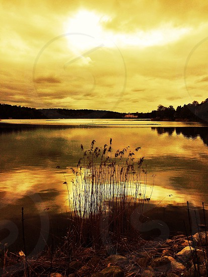 Sunset over EdsvikenSwedenlakereflections photo