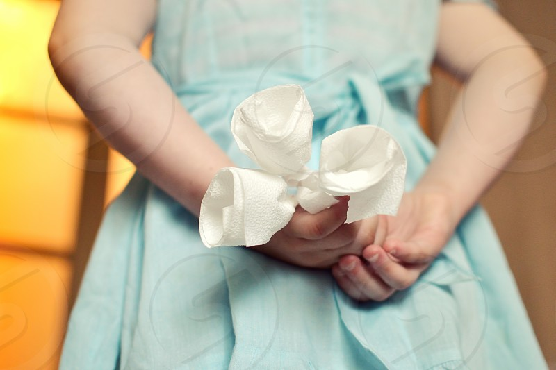 child kids love flowers napkin cool funny photo