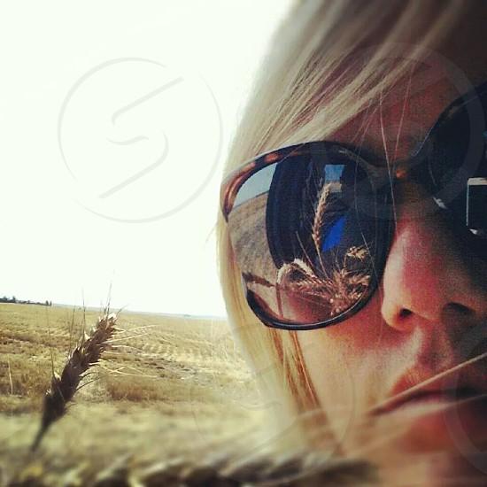 Wheat Woman close up reflection photo