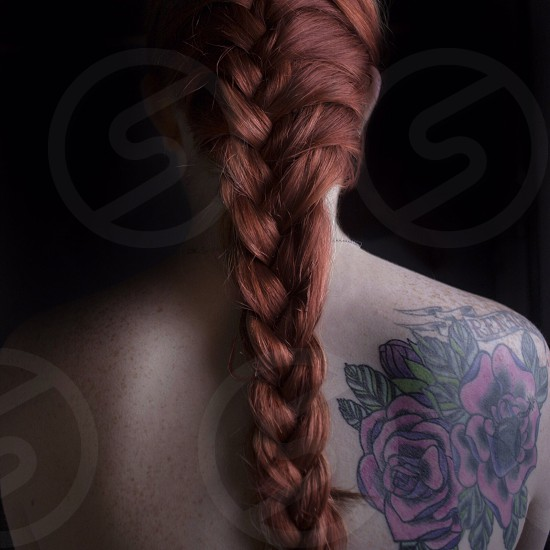 red hair tattoo girl photo