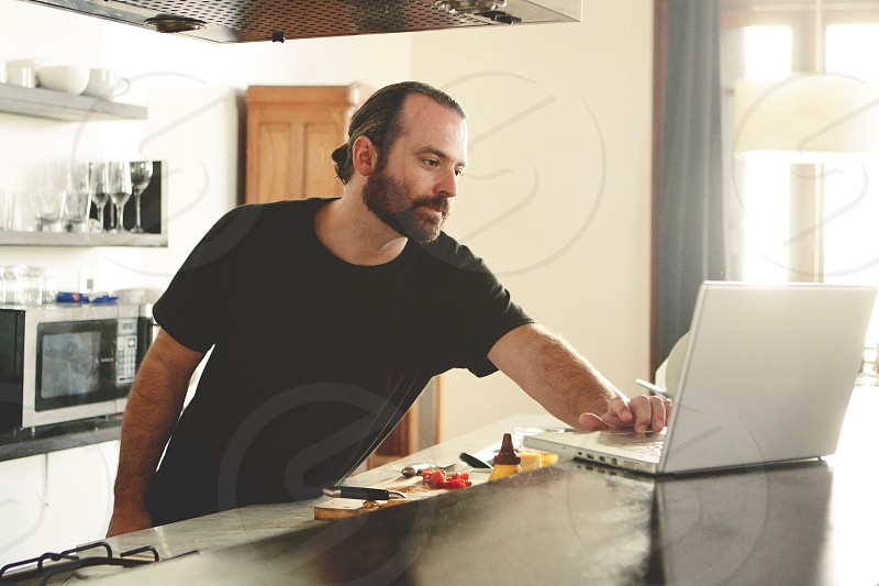 man in a black shirt photo