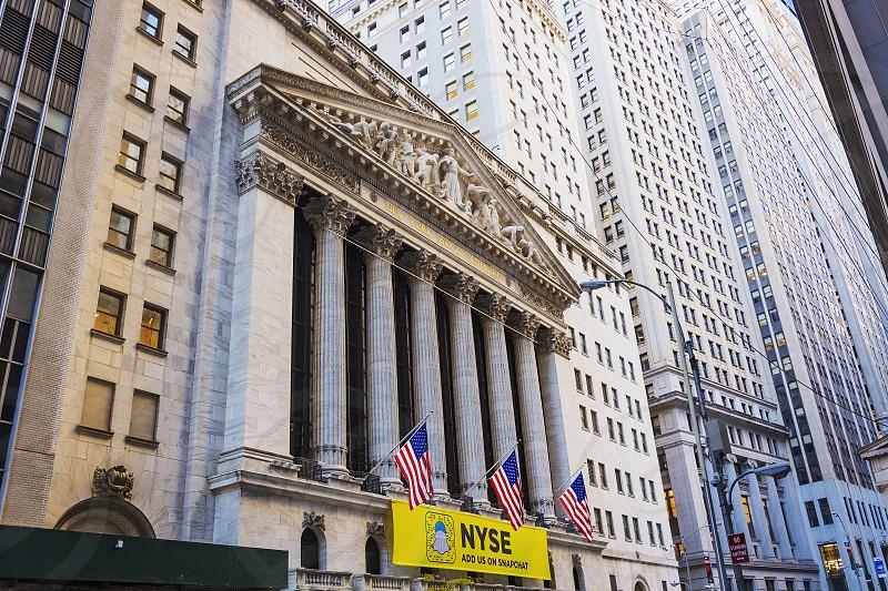 New York USA november 2016: facade of the New York Stock Exchange building in lower Manhattan New York photo