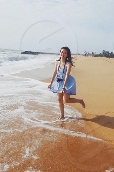 girl·summer·sea·beach·sunshine·travel·Sri Lanka photo