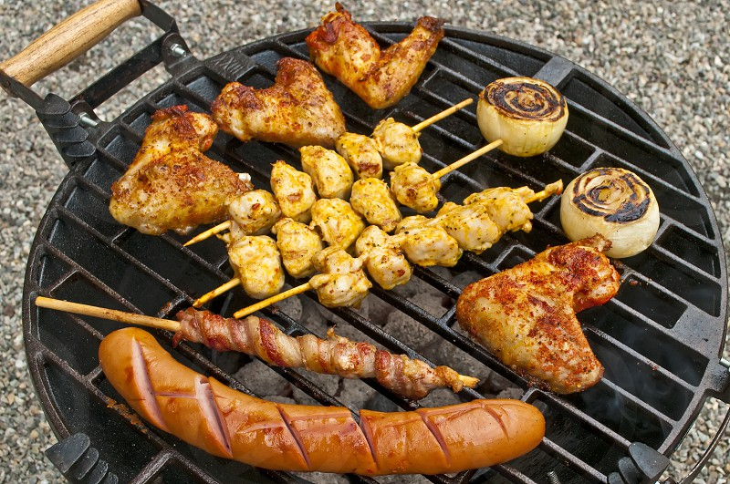 Barbecue with sausage chicken meat photo