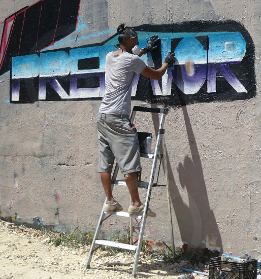 Artist at work Hope Outdoor Gallery Austin Texas photo