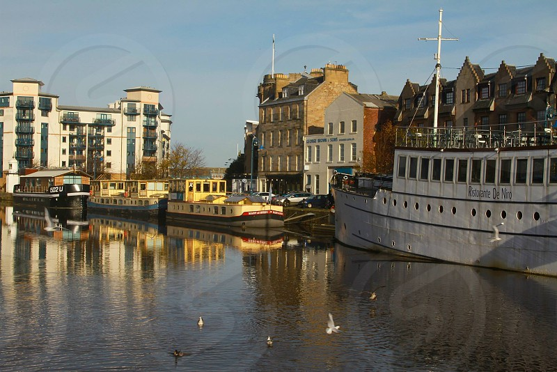 Leith edinburgh boats seaside coast coastal town water photo