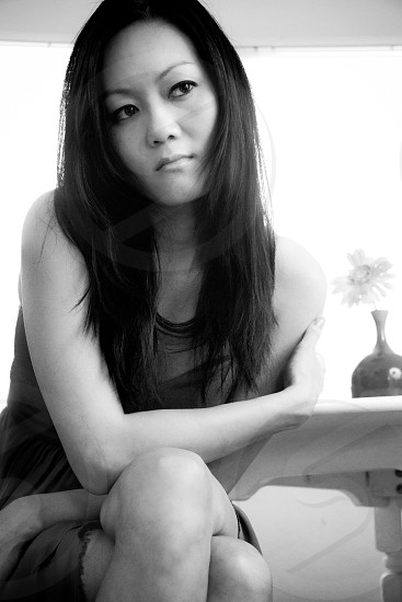woman in black casual dress photo