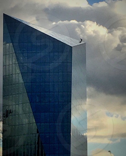 Person on top of tall building photo
