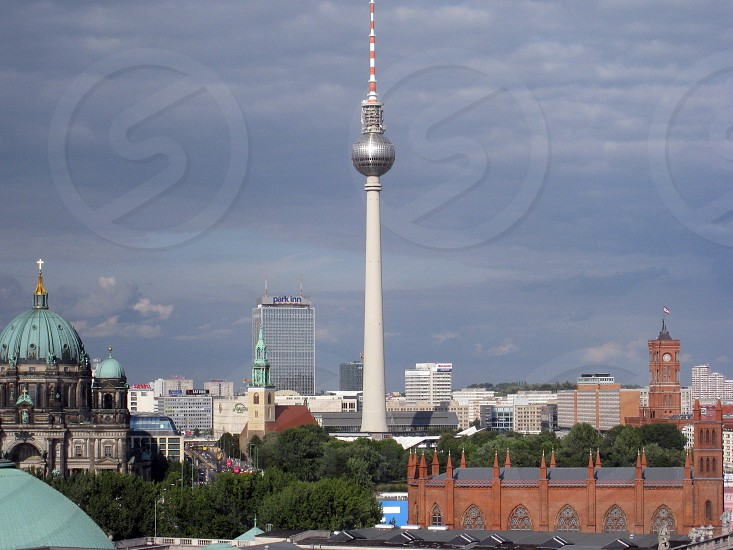 TV tower of berlin at Alexander place in mitte district. photo
