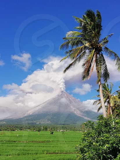 mayon volcano during eruption photo