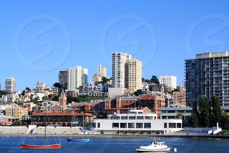 San Francisco view of Ghirardelli Square piers embarcedero.   photo
