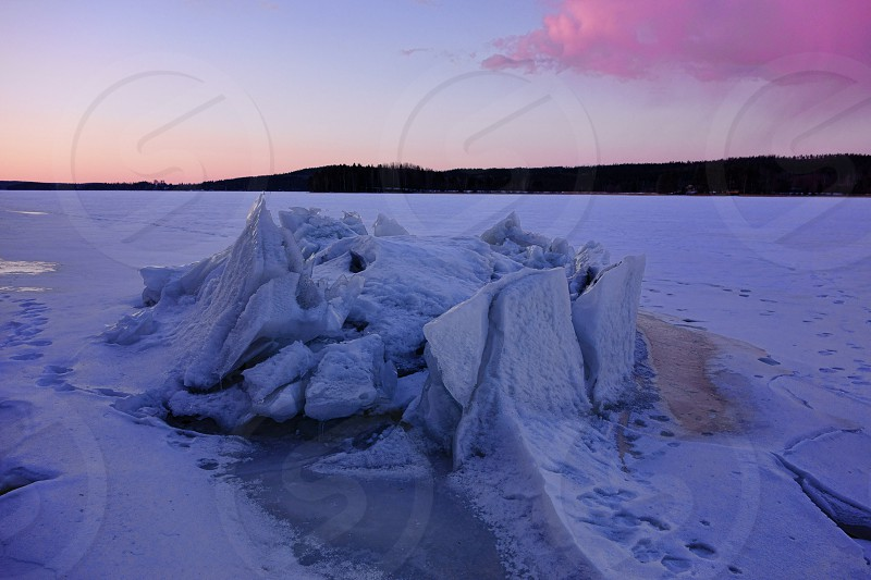 Ice formation on a lake in Western Finland. photo
