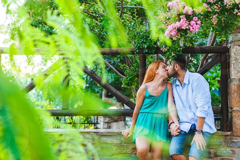 Young couple in love enjoying their honeymoon photo