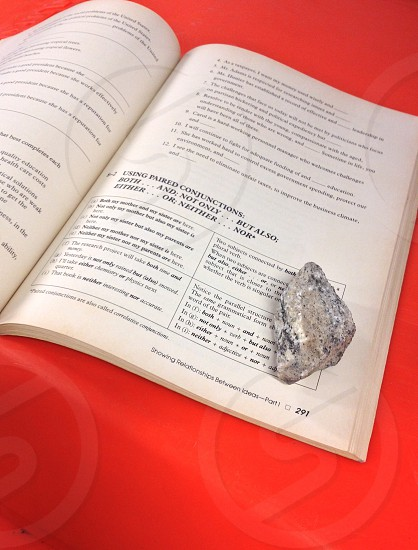 grey stone on page 291 of a book photo