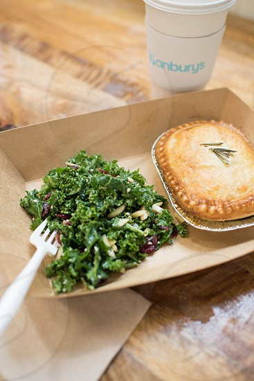 double crust pie kale salad market food photo