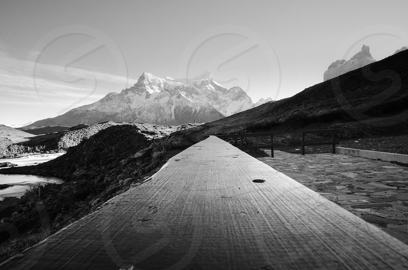 mountains contrast beautiful horizon guide lines travel banister wood snow nature raw bn black and white b&w nikon d7000 photo mood inspired landscape location photo