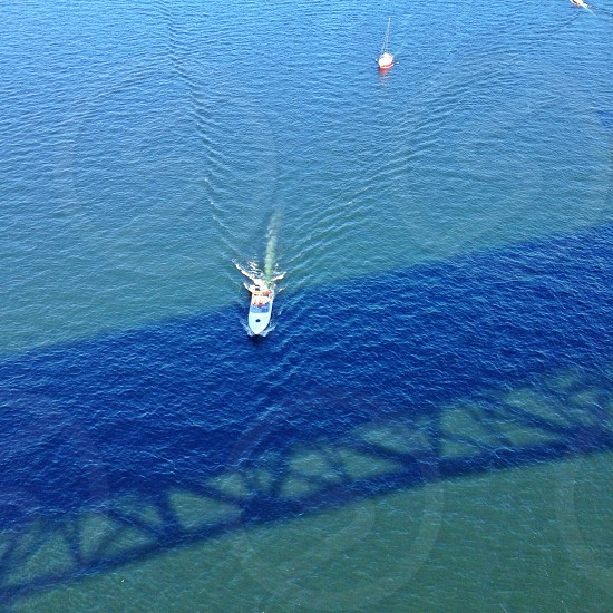 aerial view of the boat photo